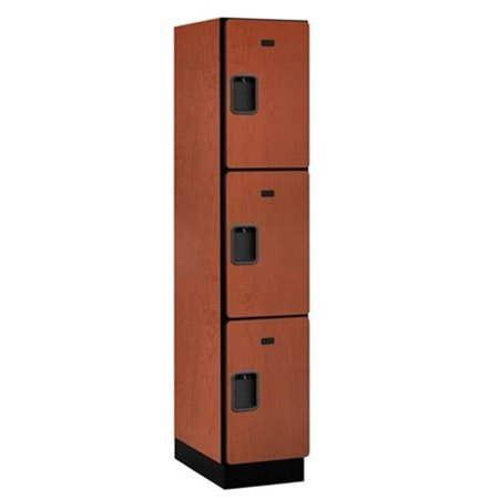 Salsbury 23161CHE Extra Wide Designer Wood Locker Triple Tier - 1 Wide - 6 Feet High - 21 Inches Deep - Cherry -