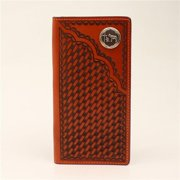 3D Belt DW543 Basket Weave Handtooled Leather Rodeo Wallet, Natural - 7.25 x 3.50 in.