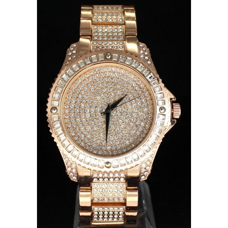 Techno Pave Men's Fashion Rose Gold Tone Plated Iced with Hip Hop Rapper Oversized Luxury Watch with Stimulated Diamond