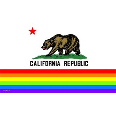 California Rainbow Flag Gay Pride Banner LGBT Event Festival Sign Pennant 3x5 CA for $<!---->