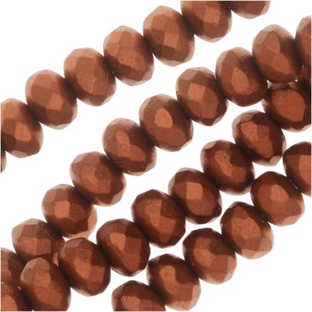 - Czech Fire Polished Glass, Donut Rondelle Beads 5x3.5mm, 50 Pieces, Bronze Copper