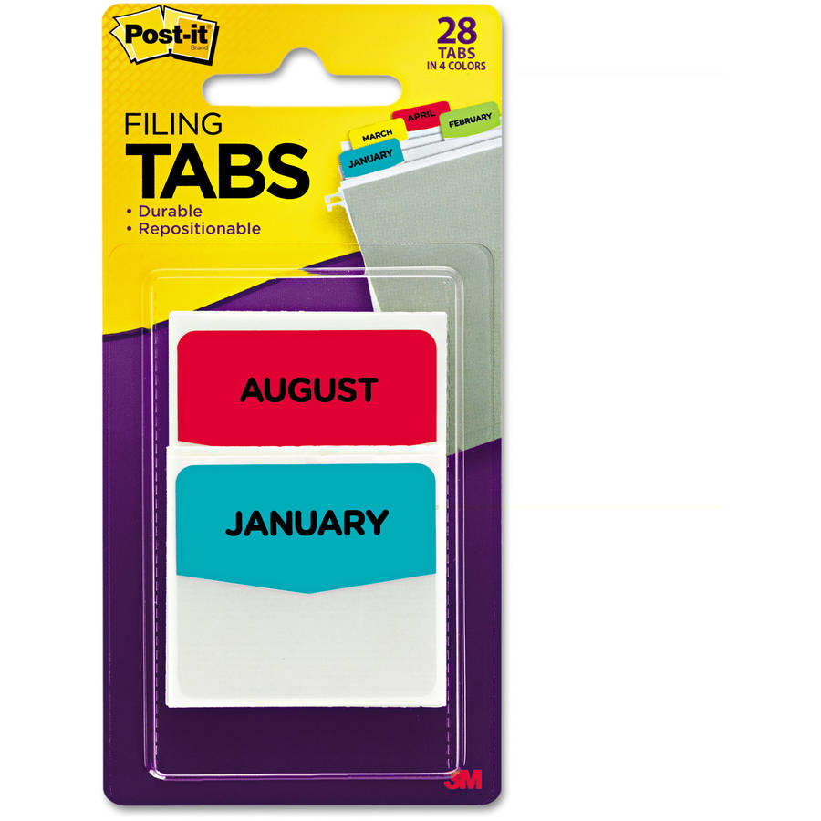 Post-it Pre-Printed File Tabs, January-December, Assorted Colors, 28pk