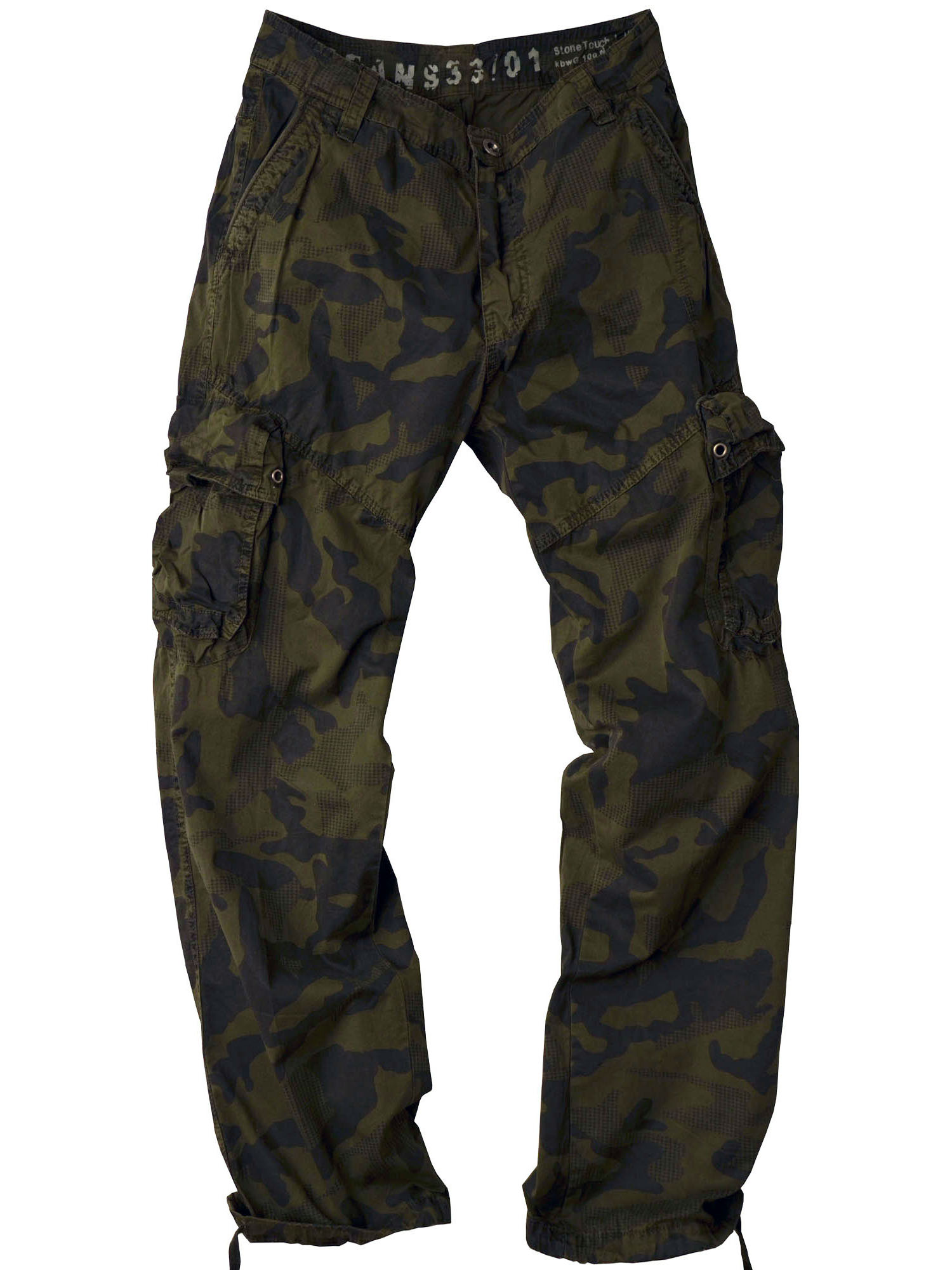 StoneTouch Men's Military-Style Cargo Camo Olive Color Pants 28C1-42x32