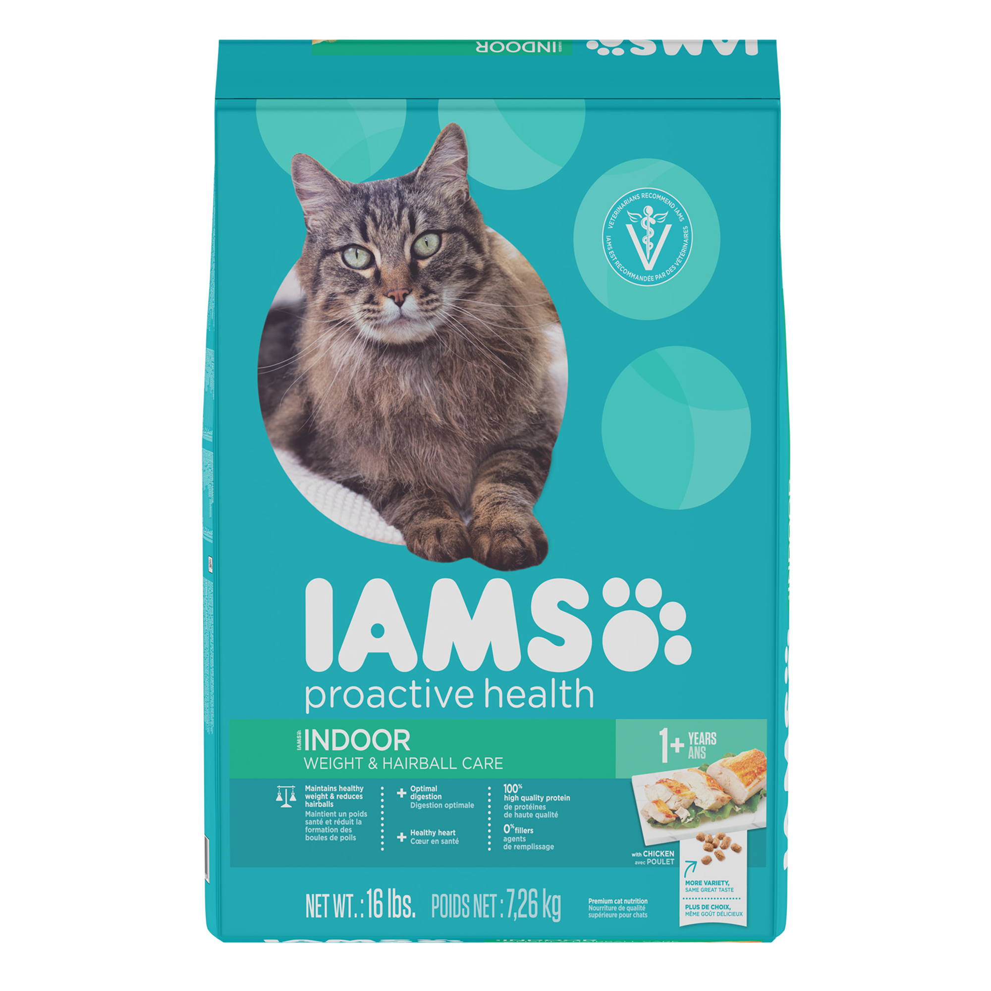 IAMS PROACTIVE HEALTH Indoor Weight and Hairball Care Dry Cat Food 16 Pounds