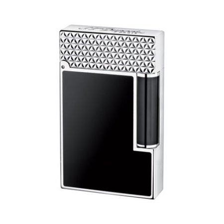 - ST Dupont Ligne 2 Palladium Finish Black Natural Lacquer Lighter ST016746