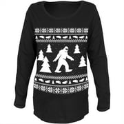 Sasquatch Ugly Christmas Sweater Black Womens Soft Maternity Long Sleeve T-Shirt - Small