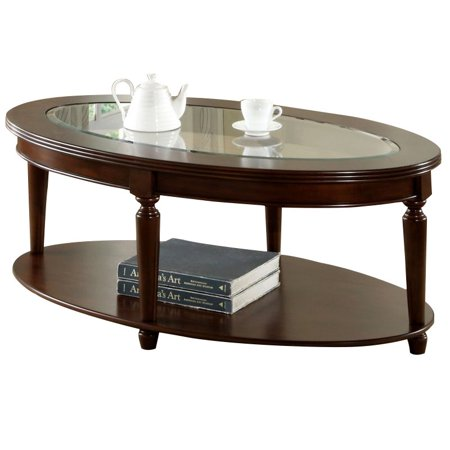 Bowery Hill Oval Coffee Table in Dark - Victorian Style Oval Cherry