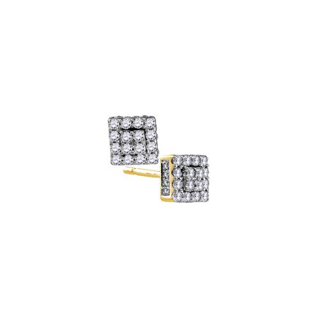 10kt Yellow Gold Womens Round Diamond Square Cluster Earrings 1/3 Cttw - image 1 de 1