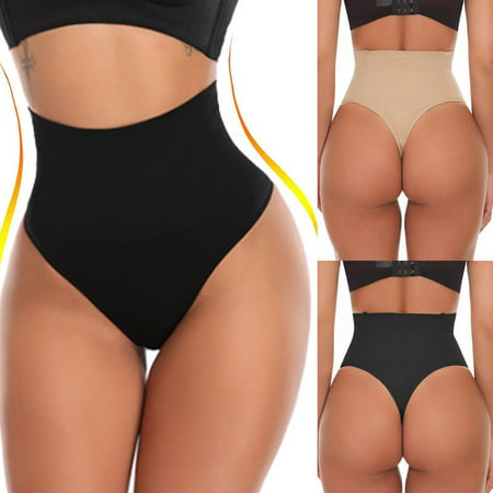 Women Waist Cincher Girdle Tummy Control Thong Seamless Panty Slimmer Body Shaper(Black