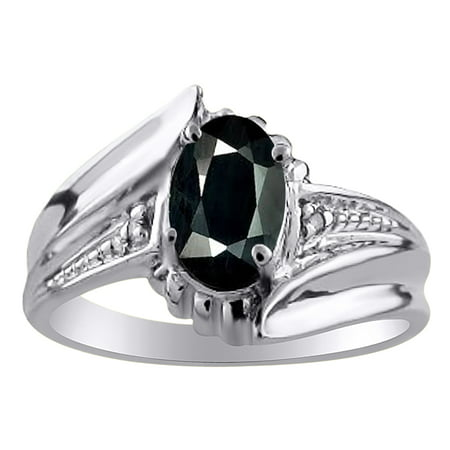 Womens Onyx & Diamond Ring White Gold Plated Sterling Silver