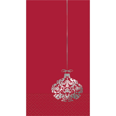 Elegant Red Christmas Paper Guest Napkins, 7.75 x 4.5in, 16ct ()