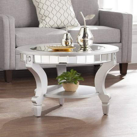 - Southern Enterprises Ladislas Glam Mirrored Round Coffee Table, Matte Silver