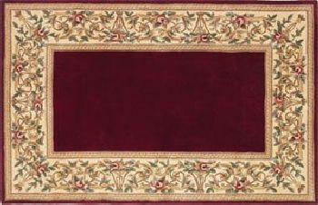 30'' x 50'' Ruby Series Wool Hearth Rug Ruby With Floral Border by