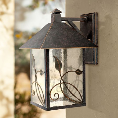 Iron Porch Light - Franklin Iron Works Country Cottage Outdoor Wall Fixture French Bronze Leaf and Vine Motif 15