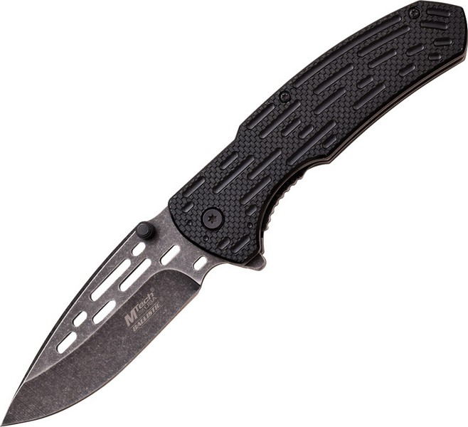 "Mtech MTA896BP Linerlock A/O Folding Knife Black SW 3.5""Blade/Blk Texture Handle"