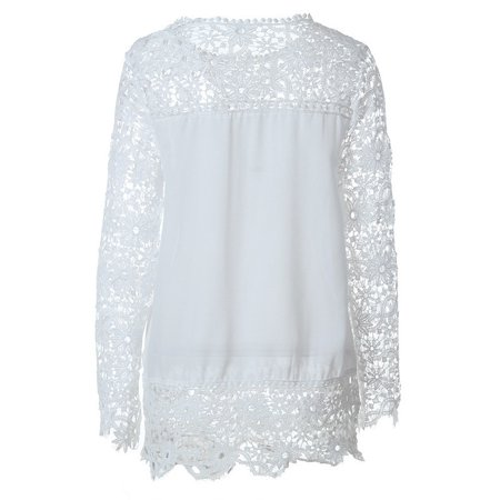 Women Blouse Lace Vintage Long Sleeve White Renda Crochet Casual Shirts Tops