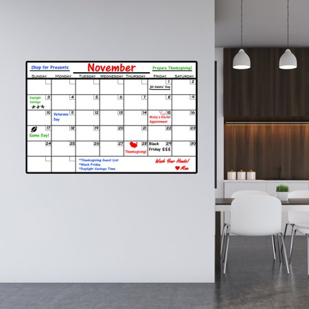 VWAQ Dry Erase Calendar Wall Decal with Markers - Peel and Stick Whiteboard - DRV1 (Daily Calendar Whiteboard)