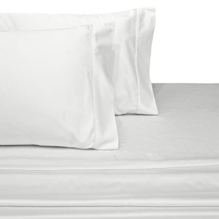 100% Long-Staple Cotton Sateen Sheets 300TC Solid Bed Sheet Set - Queen-White