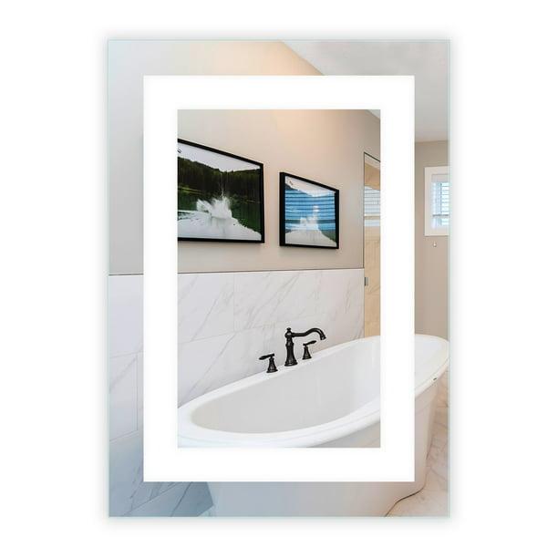 Led Front Lighted Bathroom Vanity Mirror 20 Wide X 28 Tall Commercial Grade Rectangular Wall Mounted Walmart Com Walmart Com