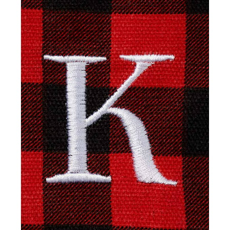 The Lakeside Collection 2-Pc. Monogram Buffalo Plaid Tote Set - K