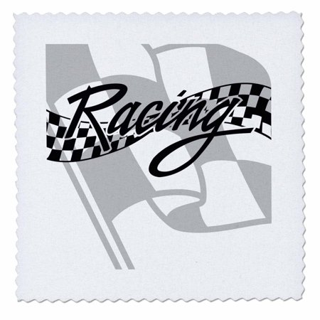 3dRose Racing Black and White Checkered Flag - Quilt Square, 10 by - Black And White Racing Flag