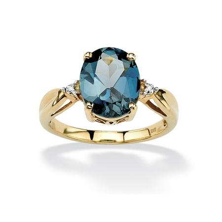 18k Citrine Ring (4.50 TCW Genuine London Blue Topaz & Diamond Accent Ring in 18k Gold over .925 Sterling)
