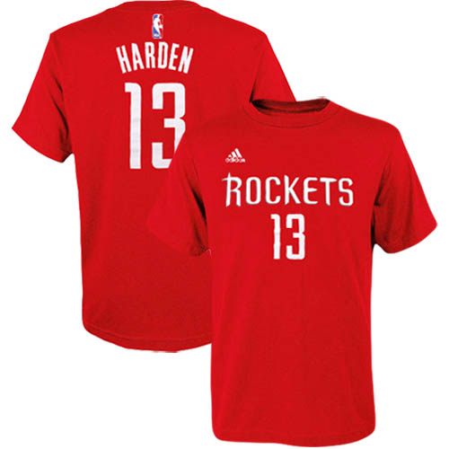 James Harden Houston Rockets adidas Youth Game Time Flat Name & Number T-Shirt - Red