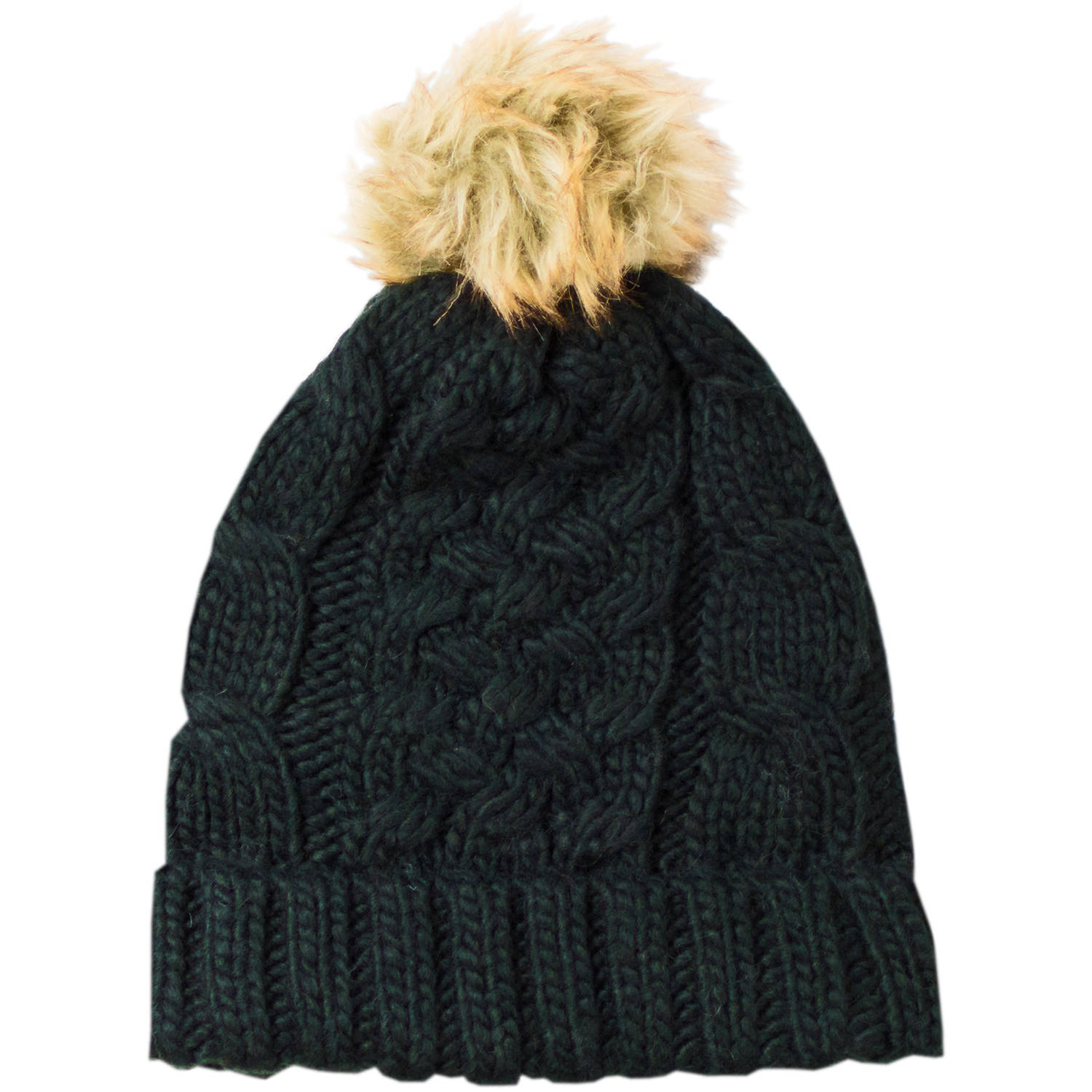 Faded Glory Women's Cable Knit Pom Beanie