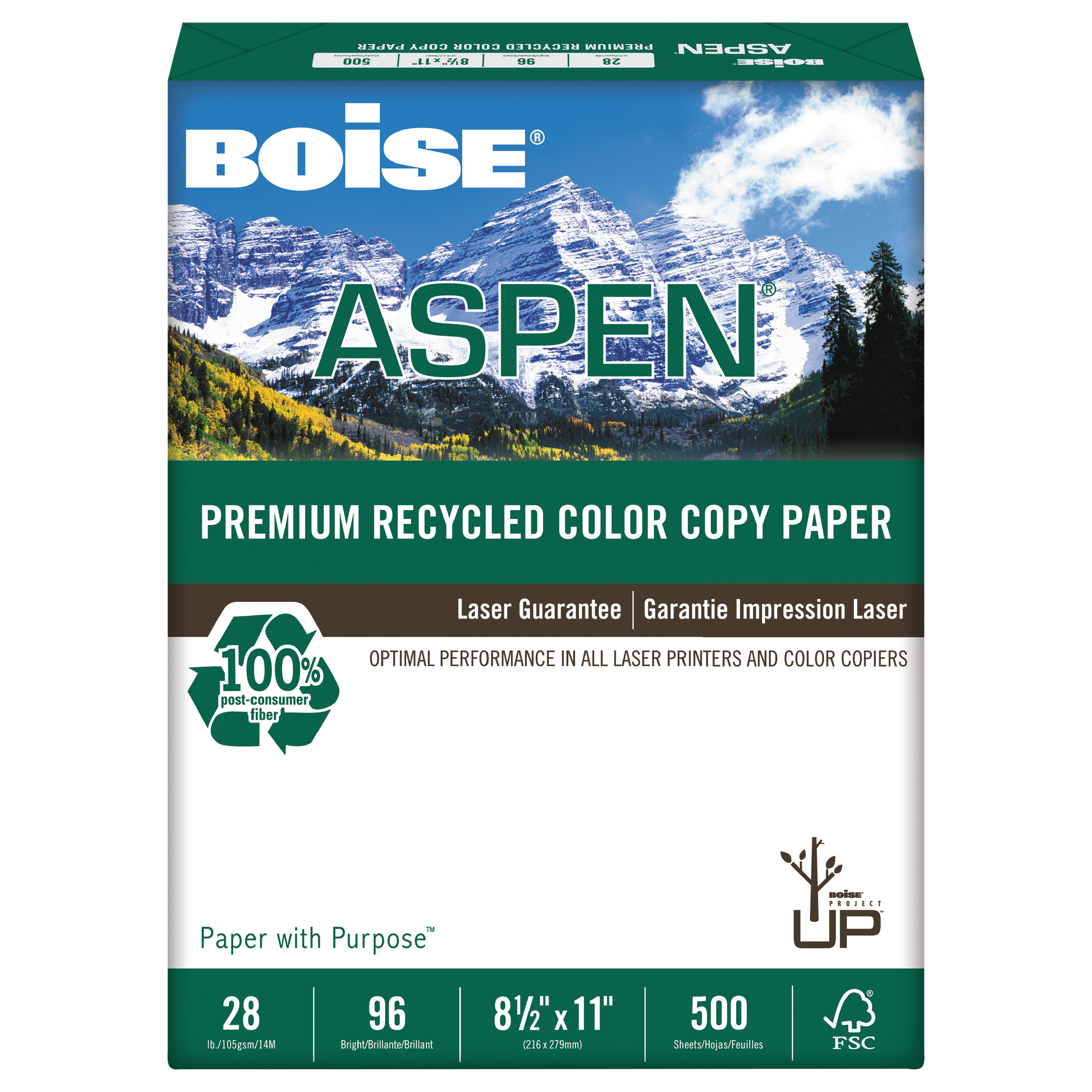 Boise ASPEN Premium Recycled Paper, 96 Bright, 28lb, Letter, White, 500 Sheets