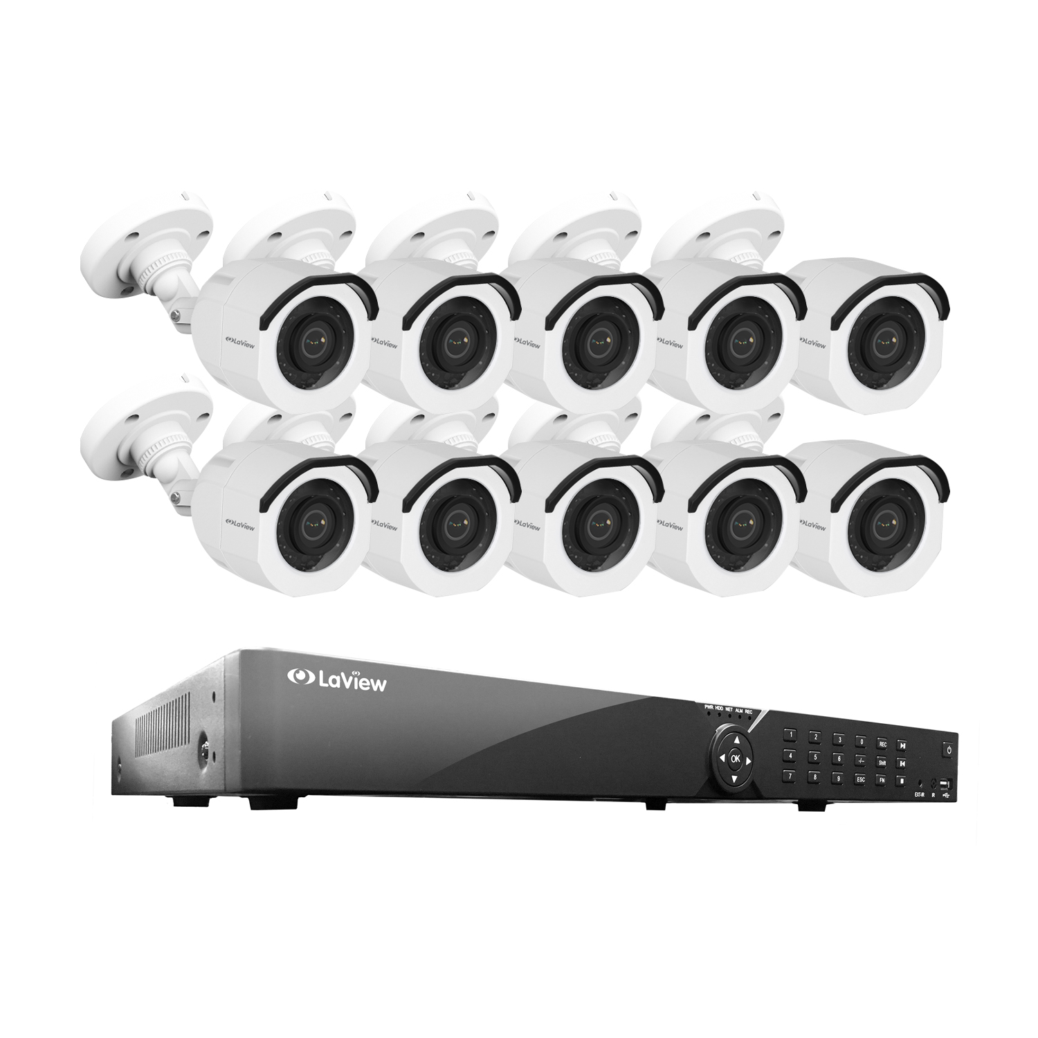 LaView 16 Channel DVR Security System W/10 HD 1080P Indoor/Outdoor Surveillance Cameras- Built in Storage 2TB HDD, Motion Detection, Remote View, Instant Mobile Notifications/Alerts
