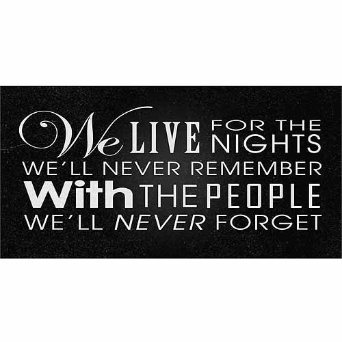 Live For The Nights Distressed Inspirational Typography Black & White Canvas Art by Pied Piper Creative