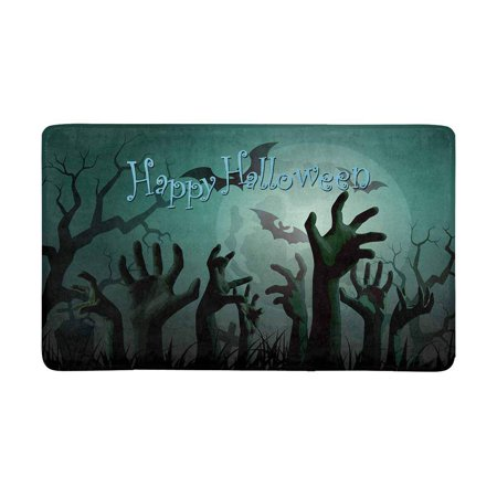 MKHERT Halloween Zombie Party with Bats and Full Moon Doormat Rug Home Decor Floor Mat Bath Mat 30x18 inch](Bts Halloween Party Full)