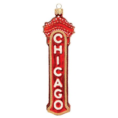 Pinnacle Peak Trading Co Pinnacle Peak Glass Chicago Marquee Sign Christmas Ornament (Trading Christmas Cast)