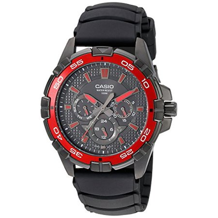 Men's Analog Black and Red Multi-Dial Watch, Black MTD1069B-1A2 Black Dial Red Meter