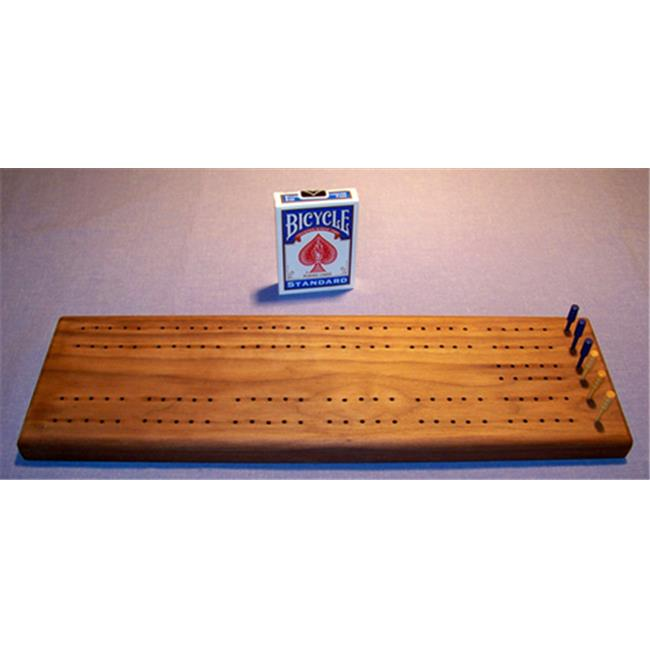 THE PUZZLE-MAN TOYS W-1400-C Wooden Cribbage Game Board in Black Walnut Plus Scoring Pegs  Deck Of Cards