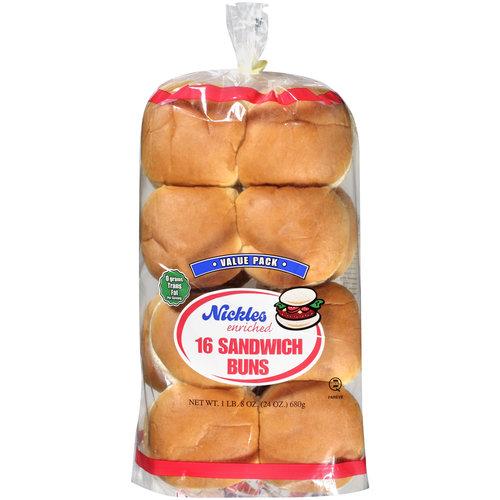 Nickles Enriched Sandwich Buns, 16ct