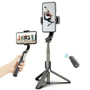 3 in 1 Phone Gimbal Stabilizer Selfie Stick Tripod 86cm 5-Section with Remote Shutter Phone Clamp Smart Rotatable Compatible with Smartphones