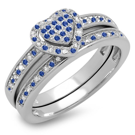 Dazzlingrock Collection Sterling Silver Blue Sapphire & White Diamond Heart Shaped Bridal Ring Set, Size 8.5 - Heart Shaped Bridal Set