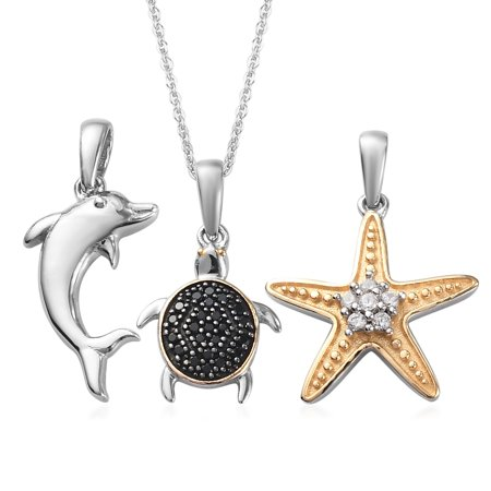 """Shop LC Round Zircon Black Spinel Starfish Turtle Dolphin Necklace 925 Sterling Silver Platinum Rhodium Plated Pendant Bridal Anniversary Engagement Wedding Size 20"""" Ct 0.4 For Women Jewelry"""