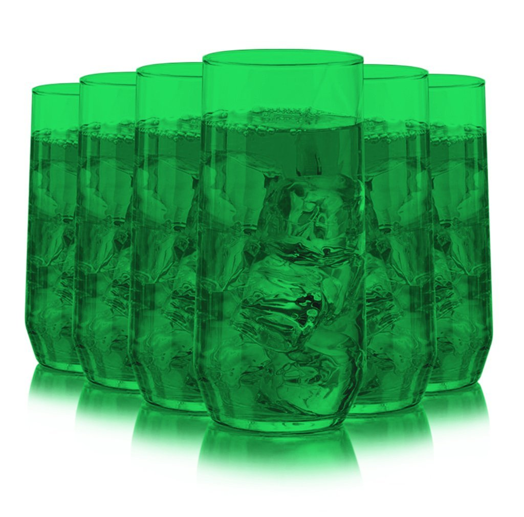 Libbey Diamond Swirl 6 -Piece Glassware Set Full Emerald Green Color  Additional Vibrant Colors Available by TableTop King