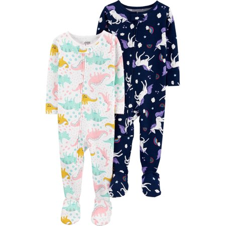 Child of Mine by Carter's Baby Toddler Girl Snug Fit Cotton Footed One Piece Pajamas, 2-Pack