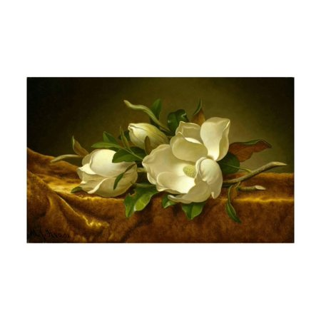 Magnolias on Gold Velvet Cloth Print Wall Art By Martin Johnson - Golden Magnolia
