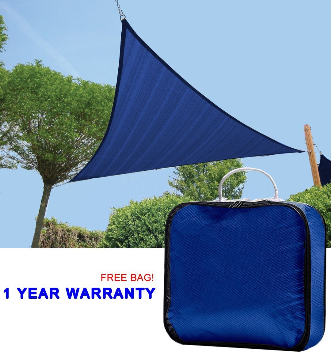 Quictent New Outdoor 12' x 12' x 12' Triangle Sun Shade Sail Canopy Patio Garden Top Cover- Blue, with Free Carry Bag