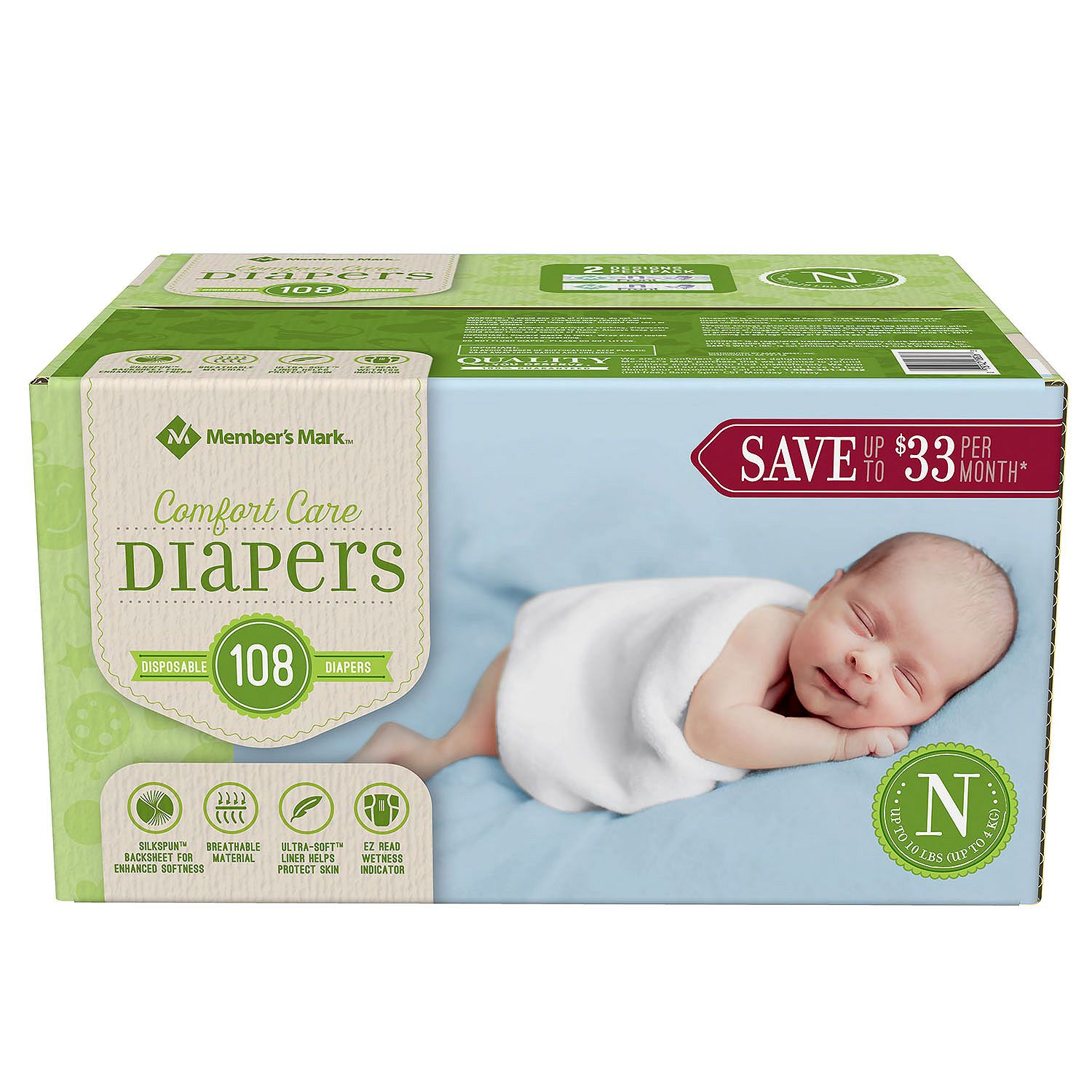 Member's Mark Comfort Care Baby Diapers, Newborn Up to 10 lbs. (108 ct.) Size not found - Bulk Qty, Free Shipping - Comfortable, Soft, No leaking & Good nite Diapers