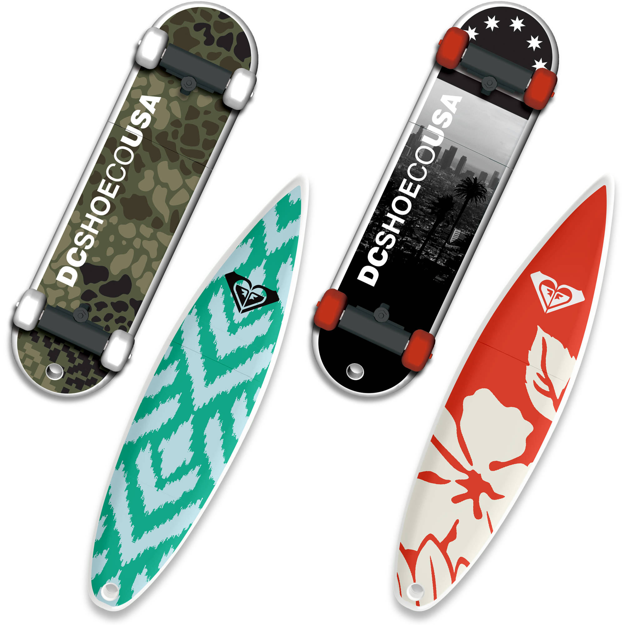 16GB EP ASD USB, DC Shoes SkateDrive and Roxy SurfDrive, 4-Pack