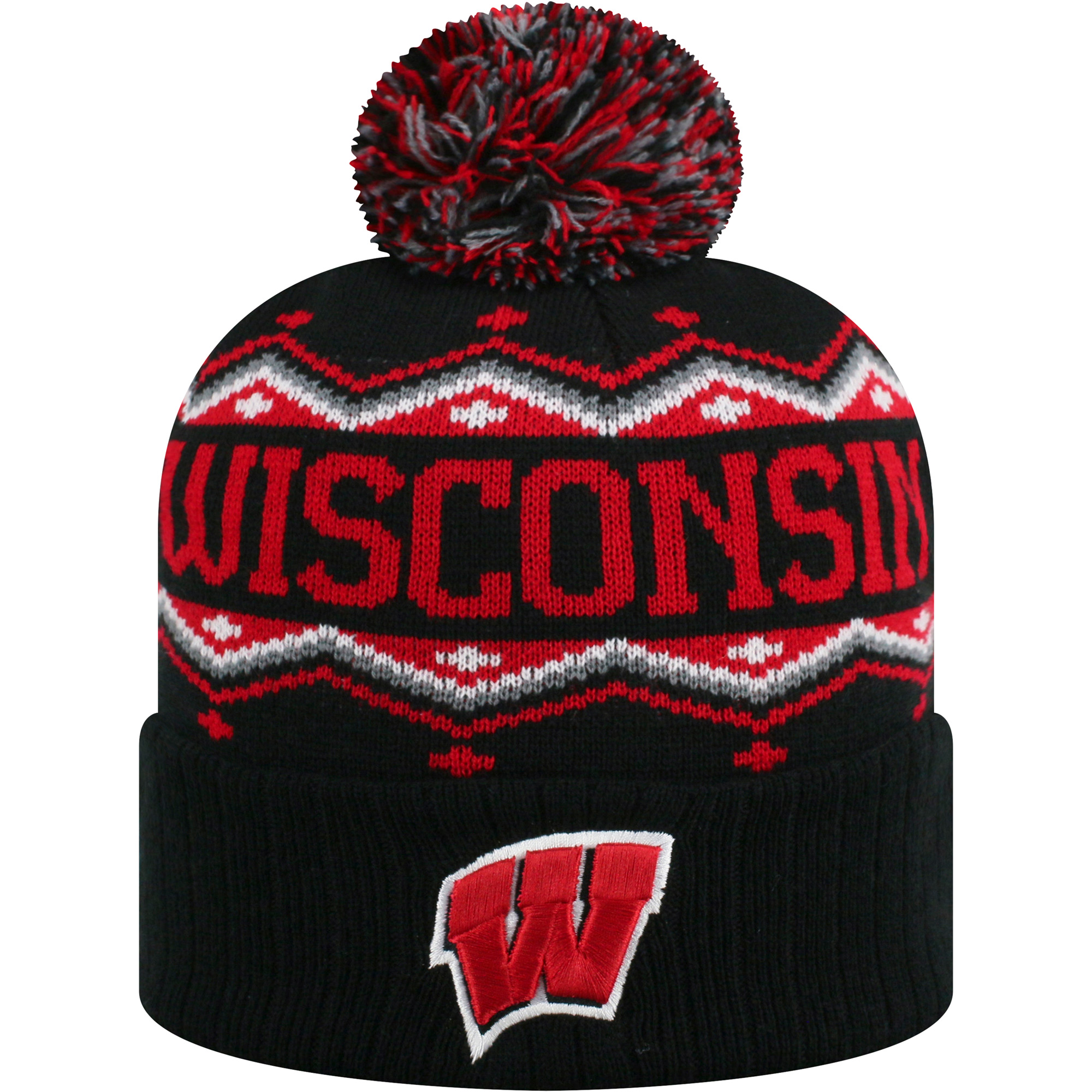 Men's Russell Black/Red Wisconsin Badgers Sewn Cuffed Knit Hat With Pom - OSFA
