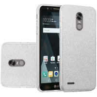 For LG Stylo 3 Stylo 3 Plus Hybrid Clear PC TPU with Glitter Shiny Sparkle Shockproof Phone Case Cover - Silver