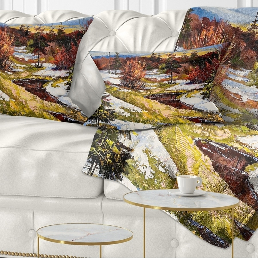 Sofa Designart CU6308-26-26 Spring Valley with River Landscape Printed Throw Cushion Pillow Cover for Living Room x 26 in. 26 in