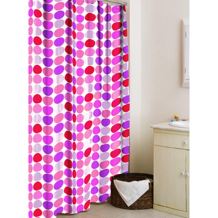 Your Zone Microfiber Shower Curtain Purple Dot