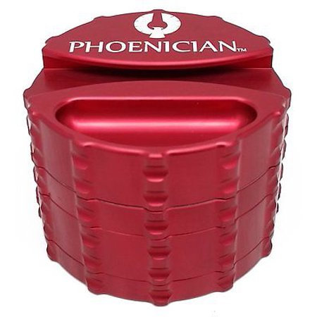 Phoenician Herbal Grinder - Large 4 Piece w/ Papers Holder - Red (Large 4 Piece Grinder)